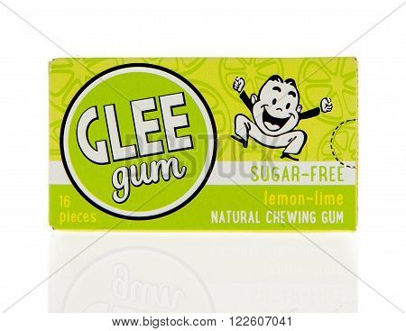 Winneconne WI - 2 March 2016: Box of Glee Gum chewing gum in lemon lime flavor.