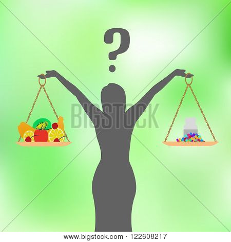 Vector illustration of a concept of healthy nutrition and diet. Pills, tablets or fruit. The woman decides what to eat. Girl with a question. Green background.