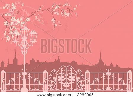 spring city vector background - streetlight park gates and roofs silhouette among flowers