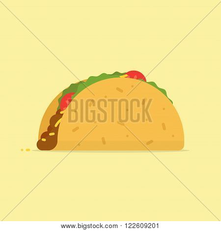Taco vector illustration. Taco icon in flat style. Taco mexican food. Tacos isolated from background. Taco traditional image. Taco fast food.