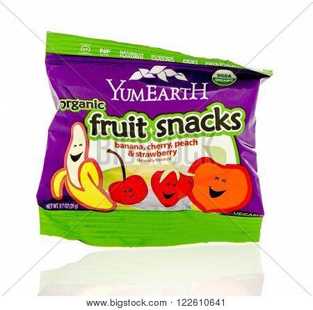 Winneconne WI - 19 Feb 2016: Package YemErarth organic assorted fruit snacks.