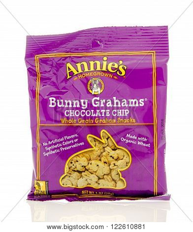 Winneconne, WI - 19 Feb 2016: Bag of Annie's Bunny grahams in chocolate chip flavor.