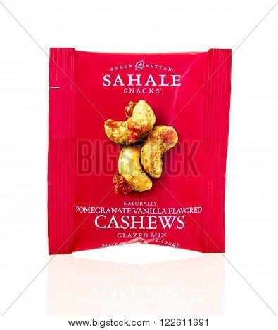 Winneconne, WI - 17 Feb 2016: Package of Sahale cashews in pomegranite vanilla flavor.