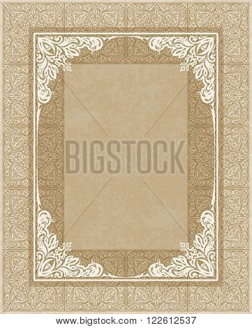Rich Decorated Old Style Background With White Frame For Your Design.