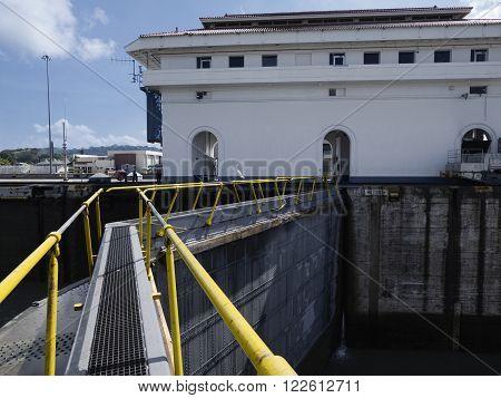 Miraflores Locks at Panama Canal, Panama, Central America