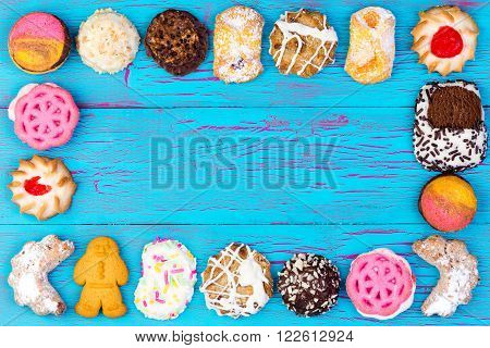 Frame Of Colorful Assorted Cookies Or Biscuits