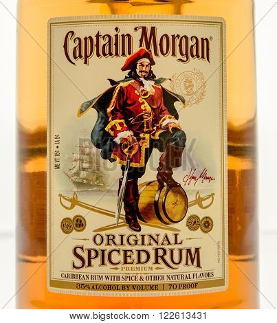 Winneconne WI - 10 March 2016: A close up shot of Captain Morgan spiced rum