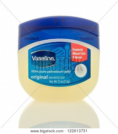Winneconne WI - 2 March 2016: A jar of Vaseline with the medical / EMT symbol on the jar. An updated jar over the past 20 years.