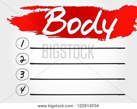 Body Blank List, Fitness, Sport
