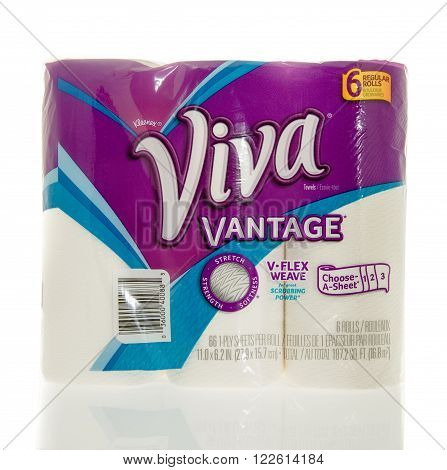 Winneconne WI - 7 Feb 2016: Package of Viva paper towels.