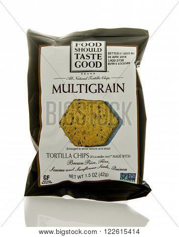 Winneconne WI - 5 March 2016: A bag of Food Should Taste Good multigrain tortella chips
