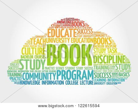 BOOK Word Cloud education collage, presentation background