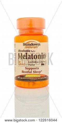 Winneconne WI - 5 March 2016: A bottle of Melatonin that is dissolveable made by Sundown.