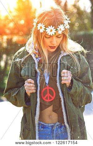 Girl Hippie Revolutionary 1970 Style. Picture Ruined Simulation