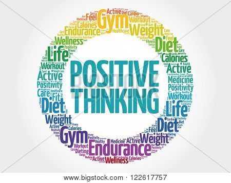Positive Thinking Circle Stamp Word Cloud