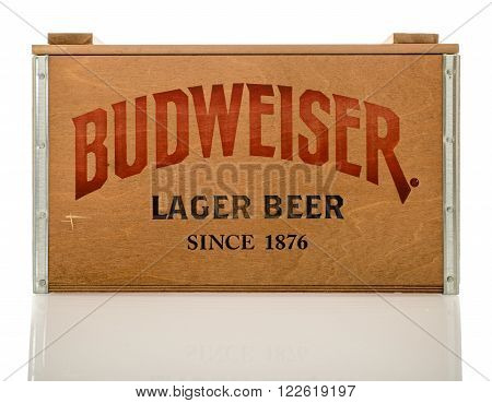 Winneconne WI - 12 March 2016: A wood crate of Budweiser lager beer.