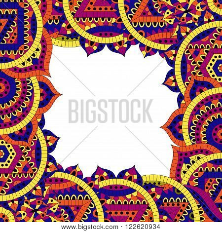 Pattern with seven chakras and text place. Oriental ornaments for banners, cards and or for your design. Buddhism decorative elements. Yellow, orange and blue colors. Vector illustration.