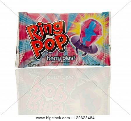 Winneconne WI - 19 Feb 2016: Package of a Ring Pop candy that you wear like a ring and suck on like a sucker