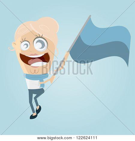 funny cartoon woman waving a flag
