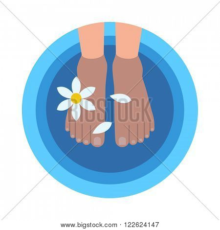 Flat style round banner with female feet in bowl filled with warm water and flower petals at professional spa and 