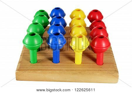 Game Pegs and Wooden Board on White Background