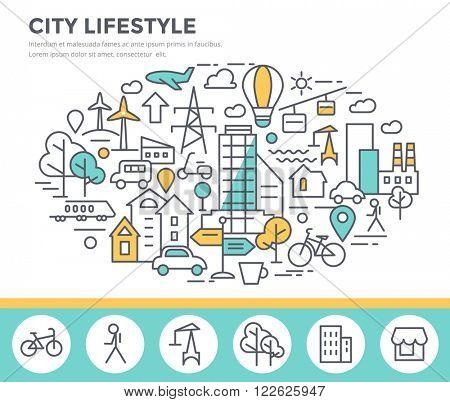 City lifestyle concept illustration, thin line flat design