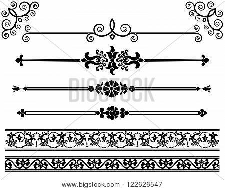 Decorative elements - openwork. Design elements - decorative line dividers and ornaments. Monochrome graphic element. Vector illustration.