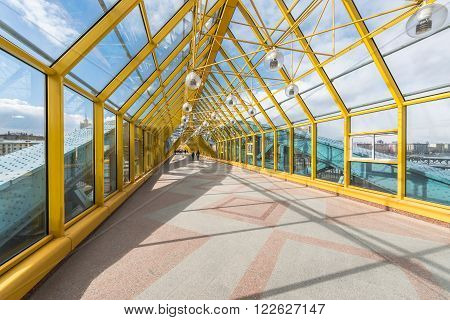 Moscow Russia - March 19 2016: Pushkin (St. Andrew's) pedestrian bridge - view from the inside.