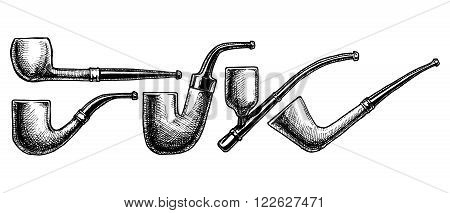 Set of hand drawing ink Tobacco Pipes. Vector illustration. vintage pipe. Engraving style. Pipe shapes: apple bent billiard hungarian (Oom Paul) cavalier dublin.
