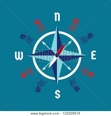 Motivational nautical symbol vector photo bigstock motivational nautical symbol for sailor windrose navigation poster concept ship wave wind pronofoot35fo Images