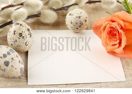 Blank Card Easter Greetings Wooden Plank,eggs,catkins,feathers,orange Rose