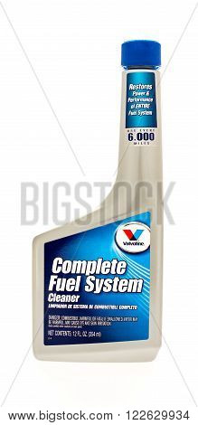 Winneconne WI - 7 August 2015: Bottle of Valvoline complete fuel system cleaner.