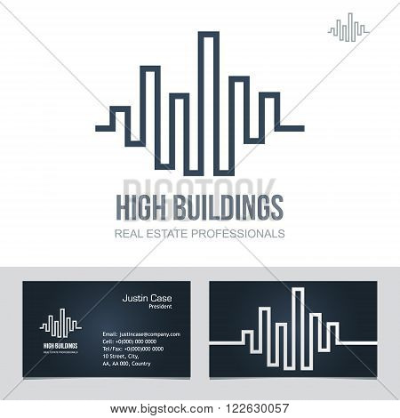 Real Estate Business sign & Business Card vector template for architecture bureau home insurance brokerage building & renovation business. Business graphics. Corporate web site element. Sample text