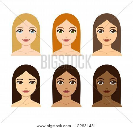 Young women with different skin hair and eye colors. Race diversity illustration.
