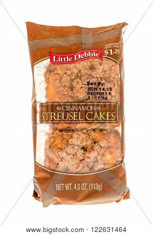 Winneconne WI - 5 June 2015: Package of Little Debbie cinnamon streusel cakes.