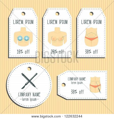 Body plastic surgery discount gift tags. Ready to use. Flat design. Vector illustration