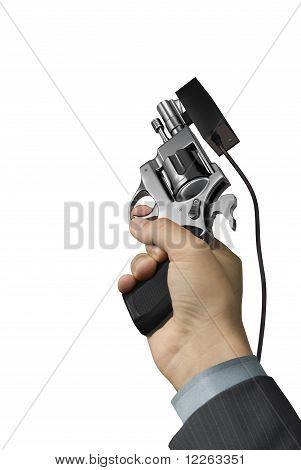 Hand with starter revolver