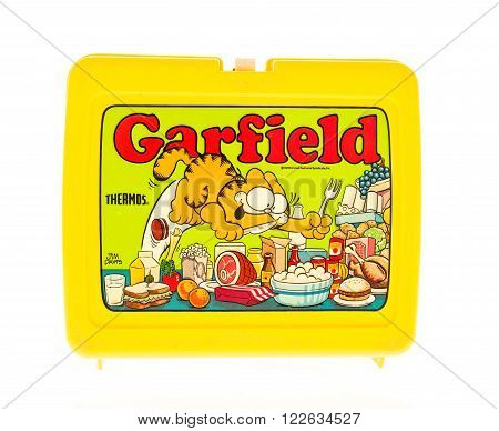 Winneconne WI - 20 April 2015: Plastic lunch box from the 1980's featuring Garfield a popular cartoon.