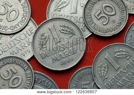 Coins of Germany. German one Deutsche Mark coin.  poster
