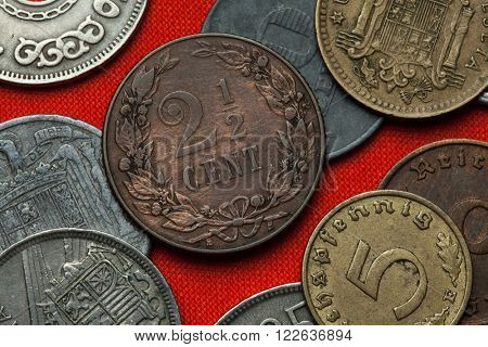 Coins of the Netherlands. Dutch two and a half cent coin (1904).