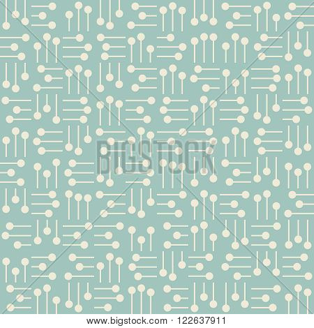 Seamless background with abstract white elements from circles and lines placed in perpendicular position on turquoise backdrop