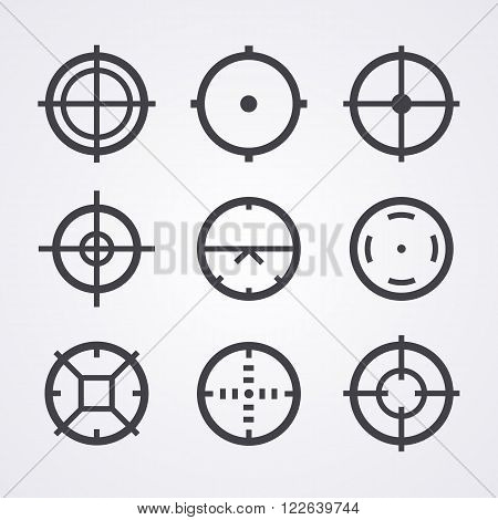 AIM crosshair set icons for computer PC games shooters, arcades, mouse cursors pointers, cross lines in circles, original aim pictograms images