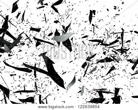 Pieces Of Destructed Glass On White