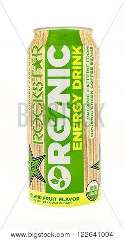 Winneconne WI - 5 June 2015: Can of Rockstar Organic energy drink