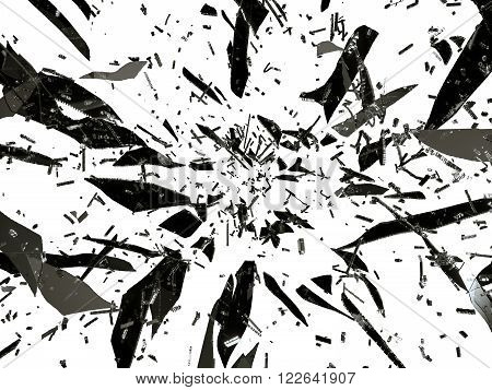 Small And Large Pieces Of Shattered Black Glass Isolated