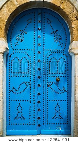 Traditional Blue Door From Sidi Bou Said In Tunisia