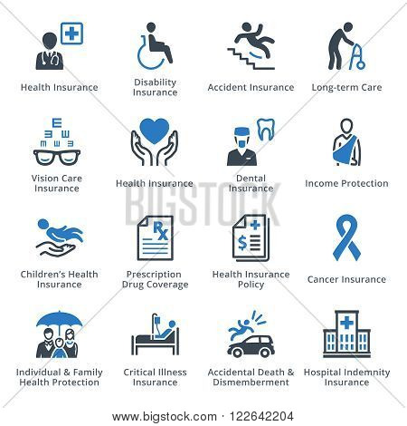 Health Insurance Icons - Blue Series. This set contains health insurance icons that can be used for designing and developing websites, as well as printed materials and presentations.