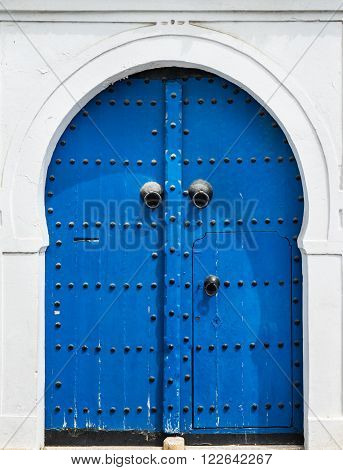 Blue Gate And Door With Ornament From Sidi Bou Said