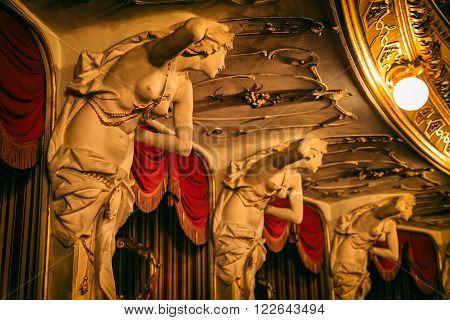 ZAGREB, CROATIA - March 17, 2016: Women sculptures decorative detail on the loggias balcony seats in Croatian National Theatre building.