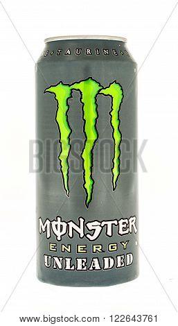 Winneconne, WI - 5 June 2015: Can of Monster energy unleaded drink